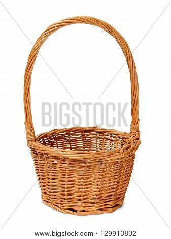 Empty wicker isolated basket on white background