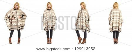 Full Length Portrait Of Beautiful Woman In  Poncho Isolated
