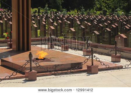 MOSCOW - JUNE 23: Eternal flame at Military Memorial of Preobrazhenskoye cemetery, June 23, 2010 in Moscow, Russia. This is biggest in military memorial - 2200 burial places concerning to 1941-1945.