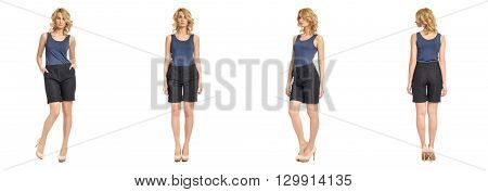 Full Length Portrait Of Beautiful Woman In  Shorts Isolated