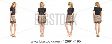 Full Length Portrait Of Beautiful Woman In  Skirt Isolated
