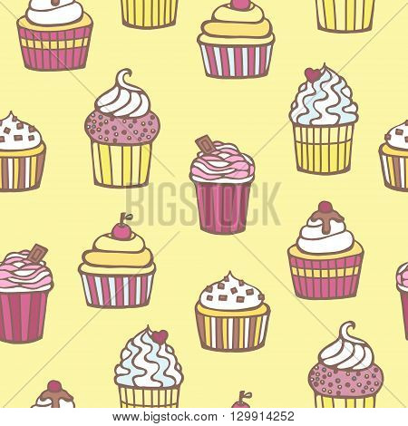 Vector muffin. Sweet cape cakes pattern on yellow background. Seamless.