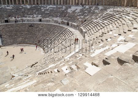 ANTALYA TURKEY - MARCH 7 2016 : View of amphitheater with historical old granite stairs in Aspendos Ancient City.