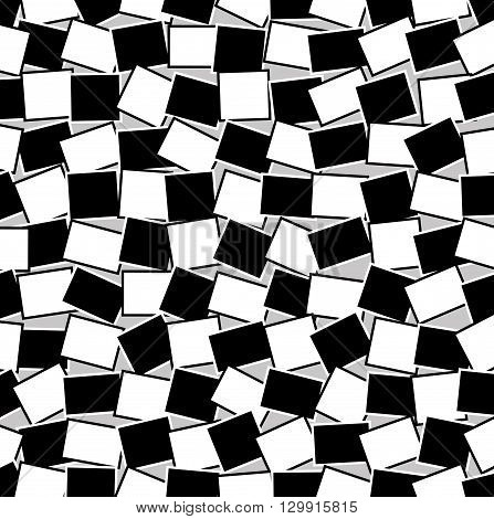 Background of black and white intersecting rectangles. Vector geometric background