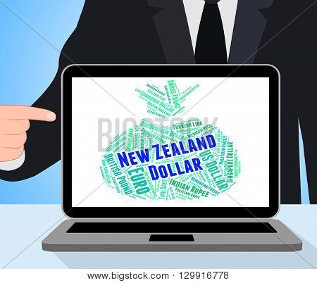 New Zealand Dollar Means Worldwide Trading And Currency