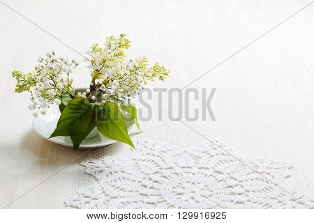 Branch Of Bird-cherry In A Small White Vase