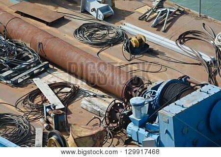 Old rusty shipwrecks, closeup on an anchor