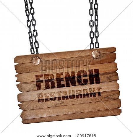Delicious french cuisine, 3D rendering, wooden board on a grunge