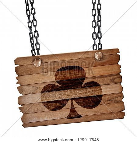 Clubs card background, 3D rendering, wooden board on a grunge ch