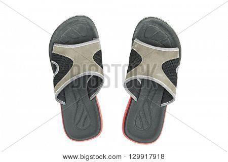 Pair of slippers on white background