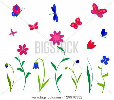 Colorful flowers butterflies and dragonflies. Vector backgrounds prints, textile decoration, kids sticker.