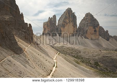 Dolomites mountain landscape, Tre Cime di Lavaredo
