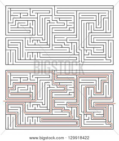 Rectangular maze of medium complexity isolated on white and solution with red path