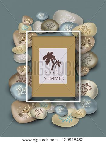 Template summer card. Massage stones with flower