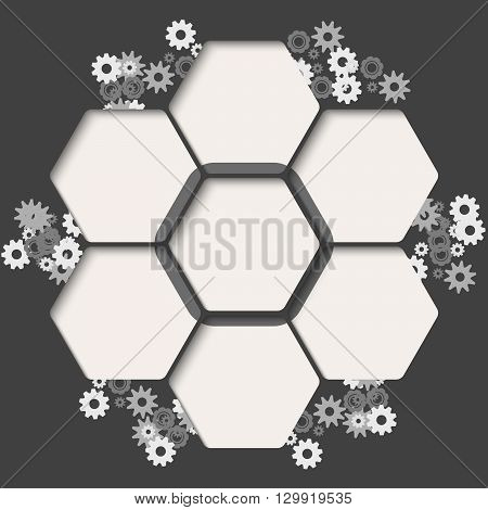 Set of seven hexagons for your text and cogwheels