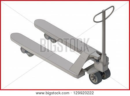 Trolley platform cart isometric perspective view flat vector 3d illustration. Sacktruck pictogram.