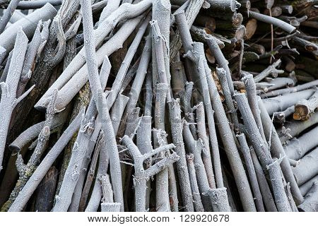 Frost on a pile of firewood,branches covered with hoarfrost