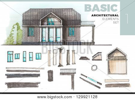 Architectural Elements Creative Set with house. Watercolor and marker painted elements isolated on white for artistic architectural visualization. Set with basic architectural elements.