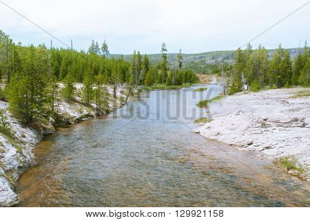 Firehole River flowing through the