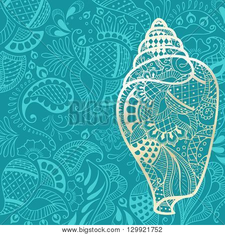 Vacation background with golden sea shell silhouette and henna tattoo inspired patterns. Graphics are grouped and in several layers for easy editing. The file can be scaled to any size.