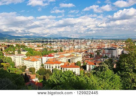 View of Bergamo lower town from upper old town Italy