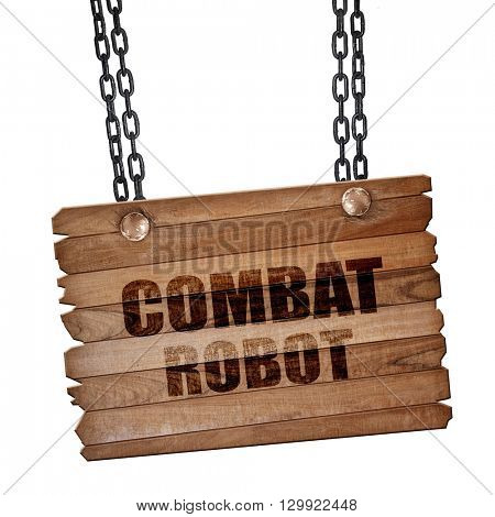 combat robot sign background, 3D rendering, wooden board on a gr