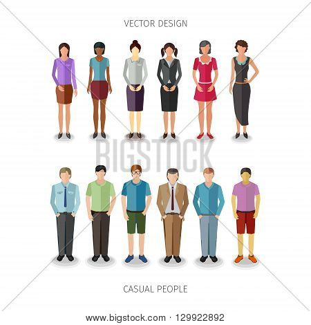 collection of twelve people standing frontal in casual cloth
