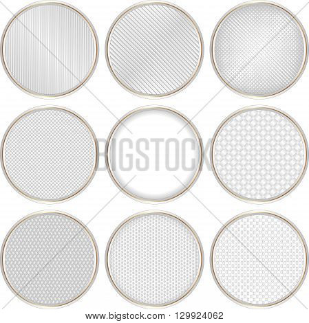 set of isolated round textured banners - vector illustration