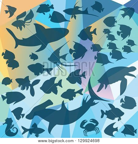 Silhouettes of sea inhabitants in vector background