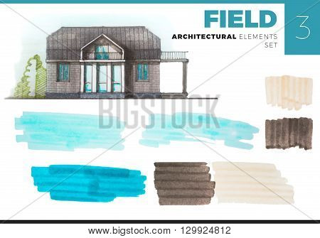 Architectural Elements Creative Set with house. Watercolor or marker painted elements isolated on white for artistic architectural visualization. Set with sky and ground fields architectural elements.