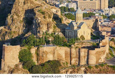 panoramic view of Tbilisi in Georgia, citadel Narikala