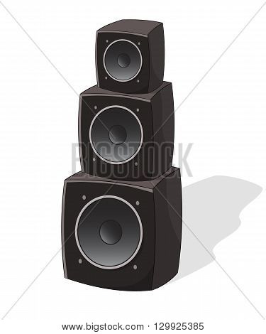 Cartoon powerful concert speakers, vector illustration isolated on white