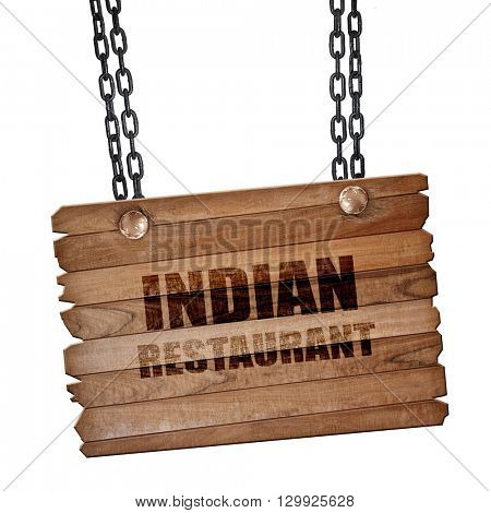 Delicious indian restaurant, 3D rendering, wooden board on a gru