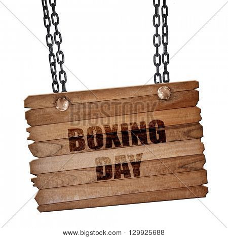 boxing day, 3D rendering, wooden board on a grunge chain