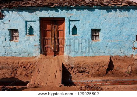Colorful brick house in small indian town Orchha Madhya Pradesh India