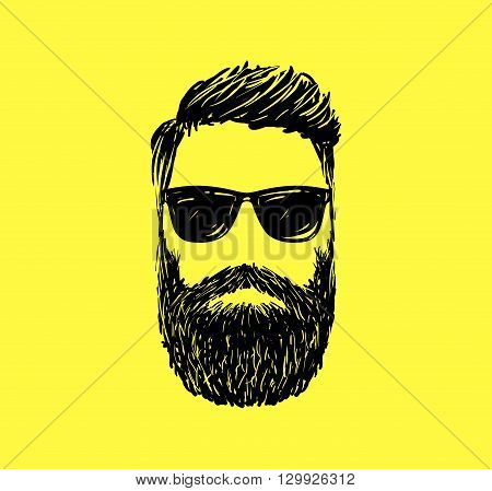 Hipster fashion man hair and beards, Hand drawn vector illustration.