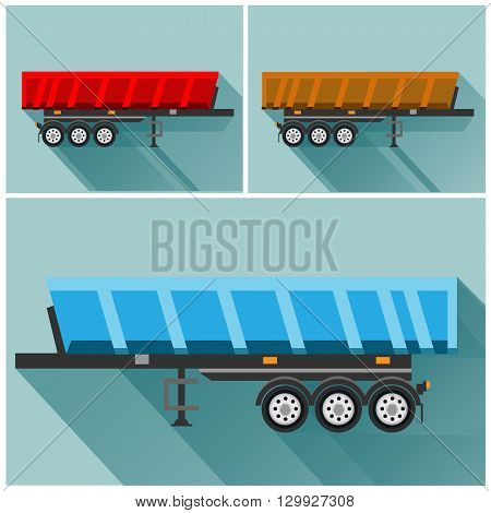 Illustration of the trailer in flat style in vector on blue background