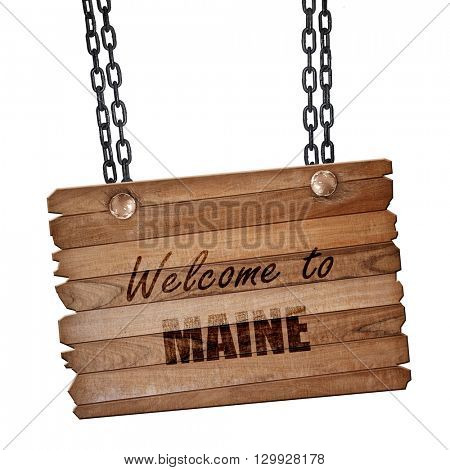 Welcome to maine, 3D rendering, wooden board on a grunge chain