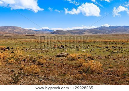 Beautiful Moroccan landscape, Sahara desert, sky and clouds