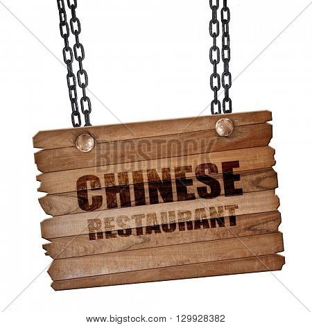 Delicious chinese restaurant, 3D rendering, wooden board on a gr