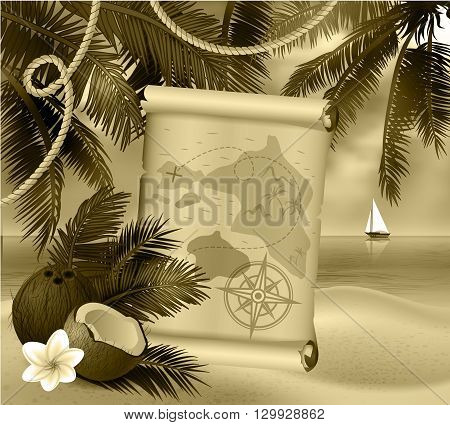 pirate treasure map on tropical background and exotic cocnut in monochrome