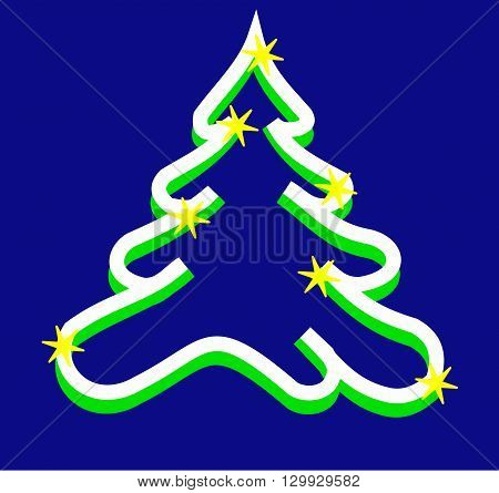 Christmas treevectorgreen tree on the blue background