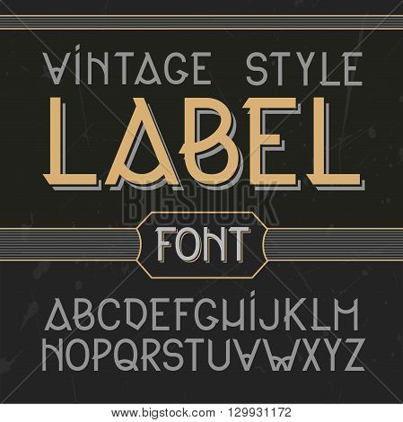 Vector Vintage Label Font, Modern Style.  Whiskey Style