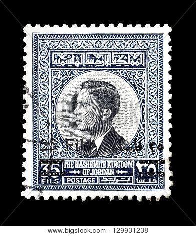 JORDAN - CIRCA 1963 : Cancelled postage stamp printed by Jordan, that shows King Hussein.