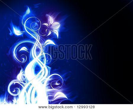 Blue fiery flower