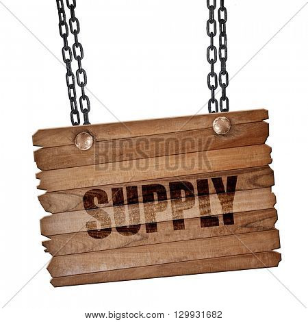 supply, 3D rendering, wooden board on a grunge chain