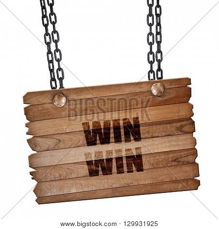 win win, 3D rendering, wooden board on a grunge chain