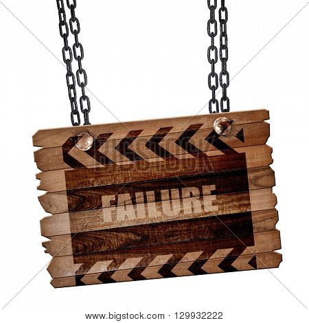 Failure sign with some smooth lines, 3D rendering, wooden board