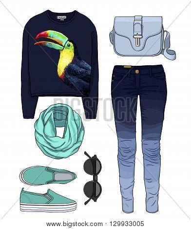 Lady fashion set of autumn, winter season outfit. Illustration stylish and trendy clothing. Denim, slip-on, jeans, bag. Paradise, tropical, exotic toucan