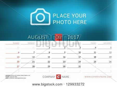 Desk Calendar For 2017 Year. Vector Print Template With Place For Photo. August. Week Starts Sunday